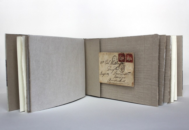 6 envelopes with stamps from 1887, individually protected by paper in a Japanese structured book of parchment. Enlarged images of stamps and handwritten text were printed on the parchment before the book was covered.